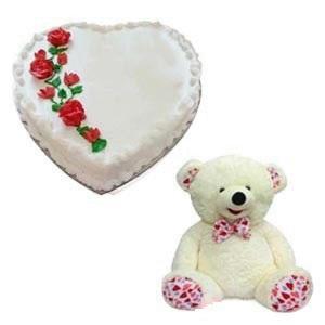 Heart Shape Vanilla Fresh Cream Cake