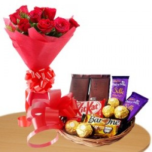 Chocolate Basket And Beautiful Roses Bunch