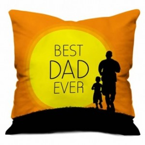 Best Dad Ever Orange Small Cushion With Filler