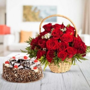 Basket of 20 Red Roses & Black Forest Cake