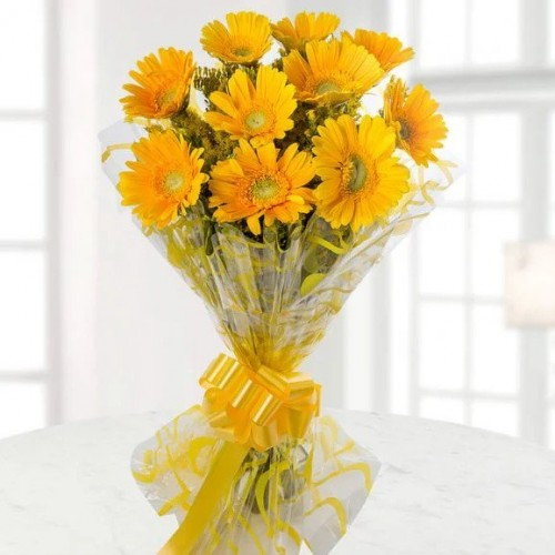 Bunch of 10 Yellow Gerberas