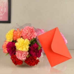 Carnations Flowers with Greeting Card
