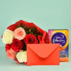 Beautiful Gift Hamper Chocolate, Card and Flowers