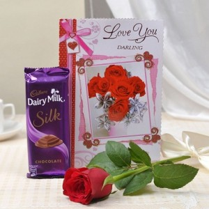 Beautiful Surprise Combo of Chocolate with Flowers and Card