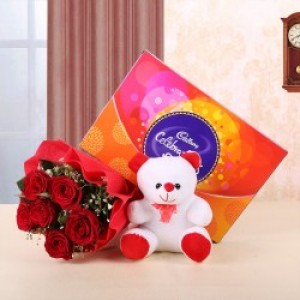 Combo Of Chocolate, Teddy and Flowers