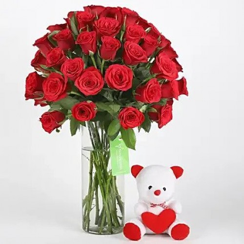 Combo 50 Red Roses & Teddy