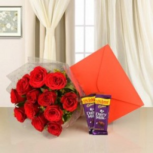 Cadbury's Dairy Milk With Bunch of Roses And Card