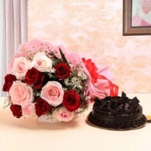 Dark Chocolate Cake with Mixed Roses