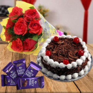 Combo of Black Forest Cake Chocolates And Flowers