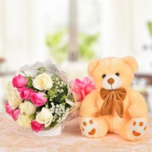 Flower With Cuddly Teddy Bear