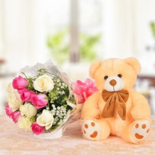 Flower With Cuddly Teddy Bear