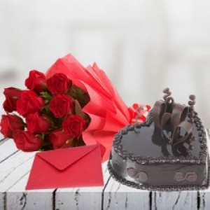 Heart Shape Chocolate Cake with Roses and  Greeting Card