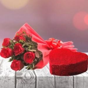 Heart shape red velvet cake with 6 red rose bunch