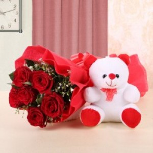 Love Duel Teddy with Flowers