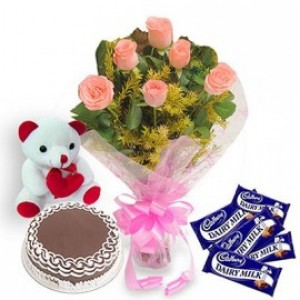 Awesome Combo of Pink Roses Cake Chocolates
