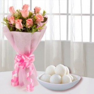 Bunch of 12 Pink Roses and Rasgulla