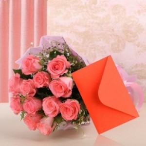 Surprise Pink Love flowers with Card