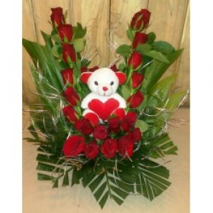 Teddy with Beautiful Rose Arrangement