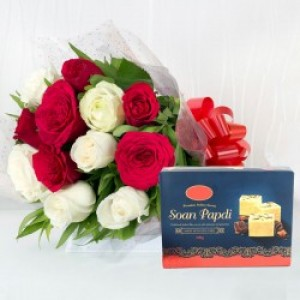 Combo Red and White Roses with Soan Papdi