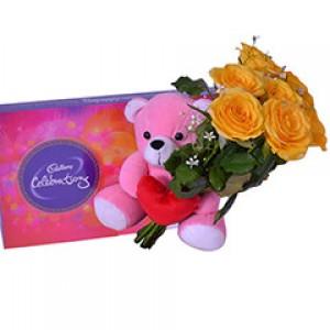 Yellow Roses Teddy Bear and Cadbury Celebration Combo