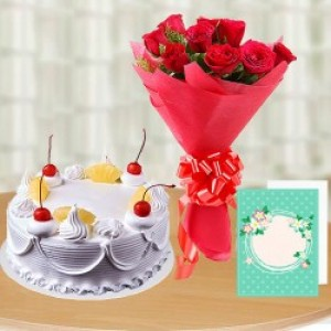 Delicious Cake, Bunch of Red Roses and Card Combo