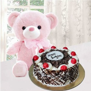 Black Forest Cake and 6 Inches Teddy Bear