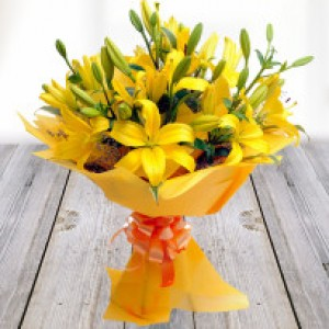 A Beautiful Bunch Of Yellow Lilies