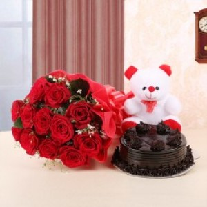 Dark Chocolate Cake with White Teddy and Bunch of Roses