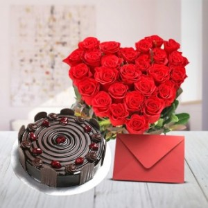 Love Gift Hamper Flowers Cake And Card