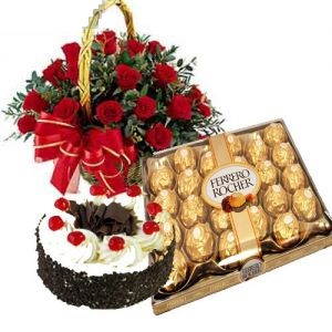 Emotions Combo Of Ferrero Rocher Cake and Roses