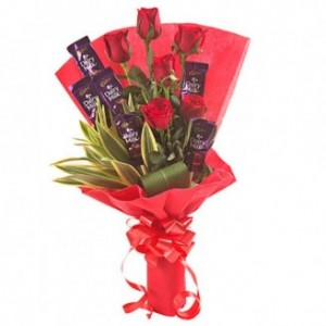 Dairymilk Chocolate And Rose Bouquet