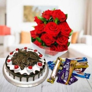 Flowers, Cake And Cadbury Chocolates Hamper