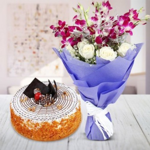 Flower Bunch And Swedish Butter Scotch Cake