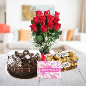 Half Kg Chocolate Cake with Rose Bunch