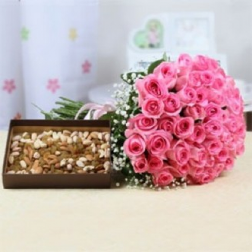 50 Pink Roses and Mix Dry Fruits