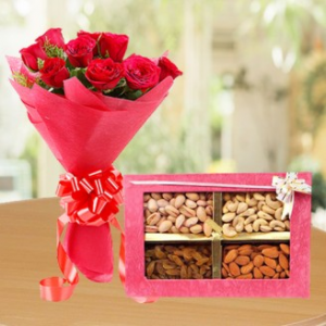 1/2 Kg Mixed Dry Fruits & 12 Roses