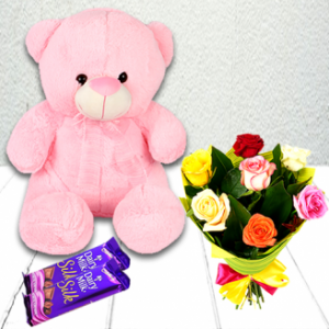 Mix Roses With Pink Teddy And Chocolates
