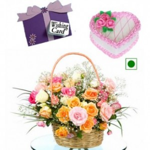 Heart Shape Cake With Flowers Basket And Wishing Card