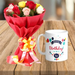 Mix Roses With Birthday Mug