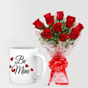 10 Red Roses Bunch With Be Mine Mug