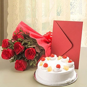 Hamper of Cake, Rose and Greeting Card