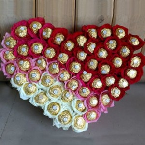 Heart Shape Arrangement Of Ferroro Rocher And Roses
