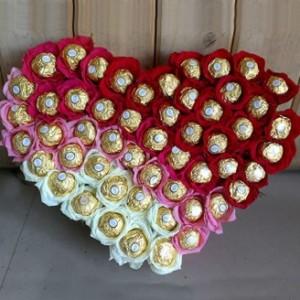 Heart Shape Arrangement Of Ferroro Rocher And Roses
