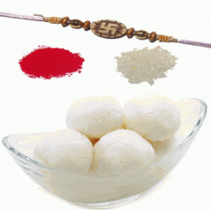 Rasgulla With Rakhi And Roli Chawal