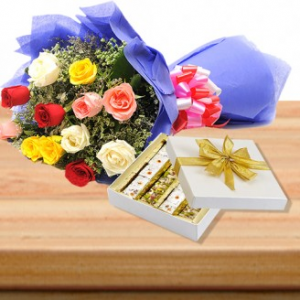 1/2 Kg Sweets and Bunch Of Assorted Flower