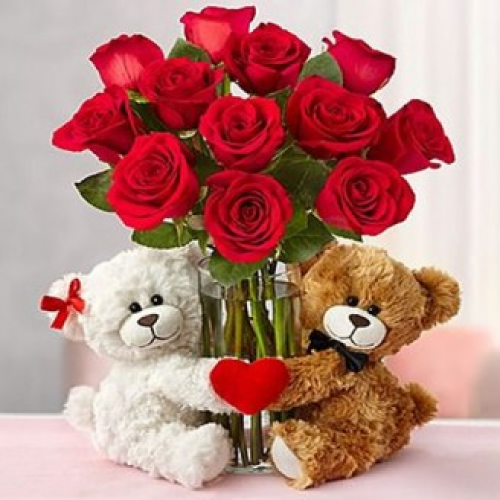 Red Roses In Glass Vase With Cute Teddy