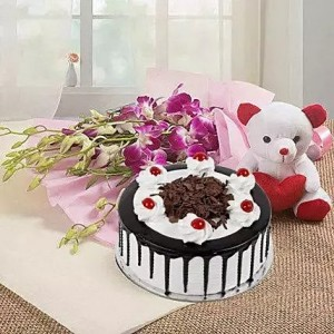 Designer Cake and Flower with Teddy