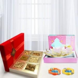 Designer Diya, Kaju Katli and Dry Fruit Box