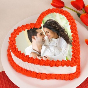Heart Shape Photo Cake for Anniversary