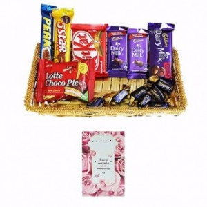 Special Mixed Chocolate Gift Baskets With Card
